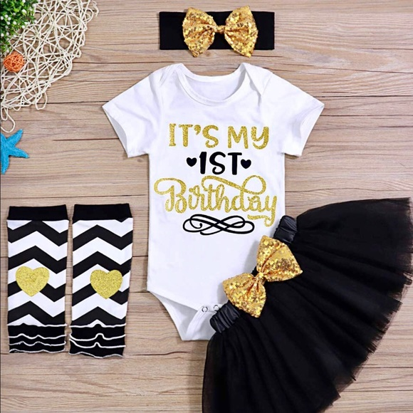 ⭐️ New Happy 1st One First Birthday Girl Tutu Set NWT